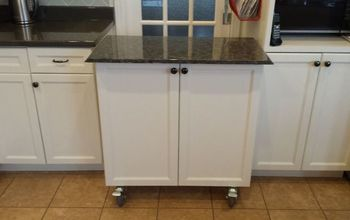 Kitchen Cabinet Turned Roll-away Cart/Moveable Island