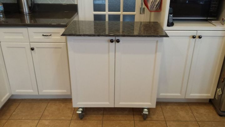 Kitchen Cabinet Turned Roll-away Cart/Moveable Island | Hometalk