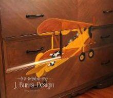 diy vintage airplane dresser, painted furniture
