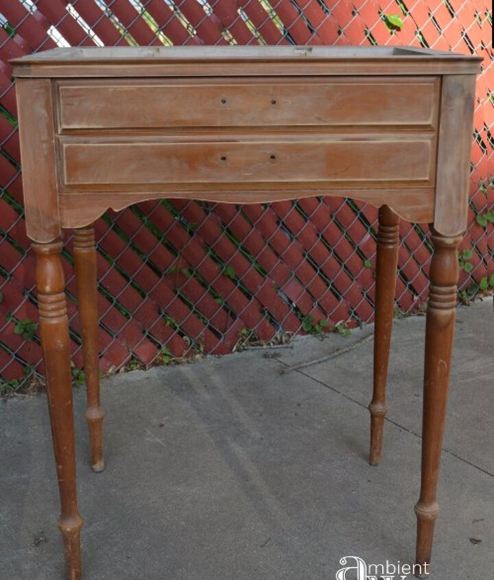 old sewing table turned food beverage station, how to, painted furniture, repurpose household items