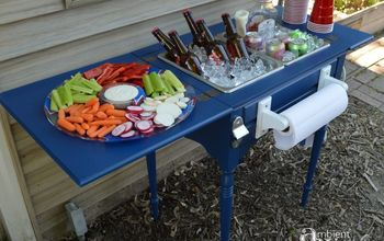 Old Sewing Table Turned Food & Beverage Station