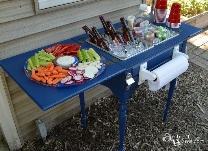 Old Sewing Table Turned Food Amp Beverage Station Hometalk