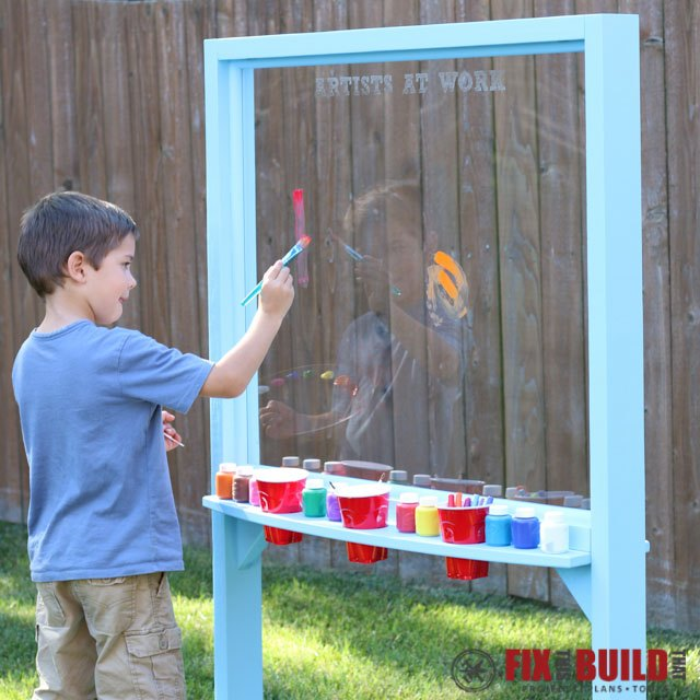 kids outdoor acrylic easel, crafts, outdoor living, painting, woodworking projects