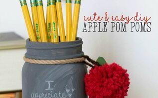 apple yarn pom poms, crafts, how to