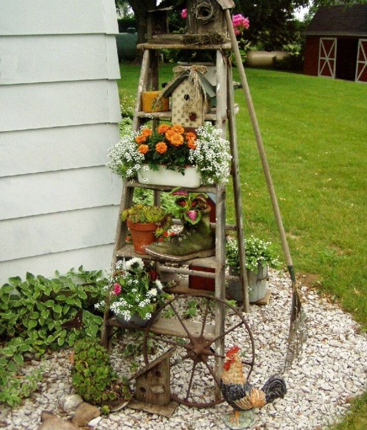 s how to transform your backyard into a junk garden, Paint an old step ladder for some height
