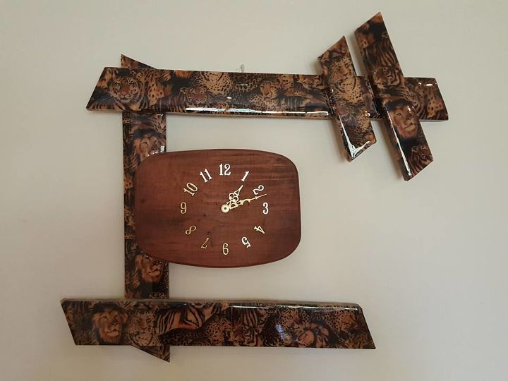 diy wood clocks from scraps of wood, repurposing upcycling, wall decor, Wood clock with fabric and liquid glass