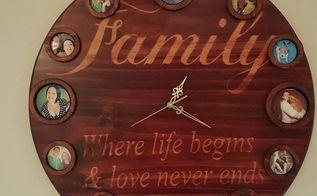 diy wood clocks from scraps of wood, repurposing upcycling, wall decor, Family Clock