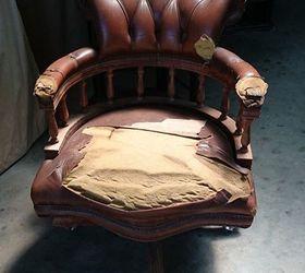 Restoration Of A Vintage Captains Chair, Reupholstoring, Reupholster,  Thrown Away Captains Chair