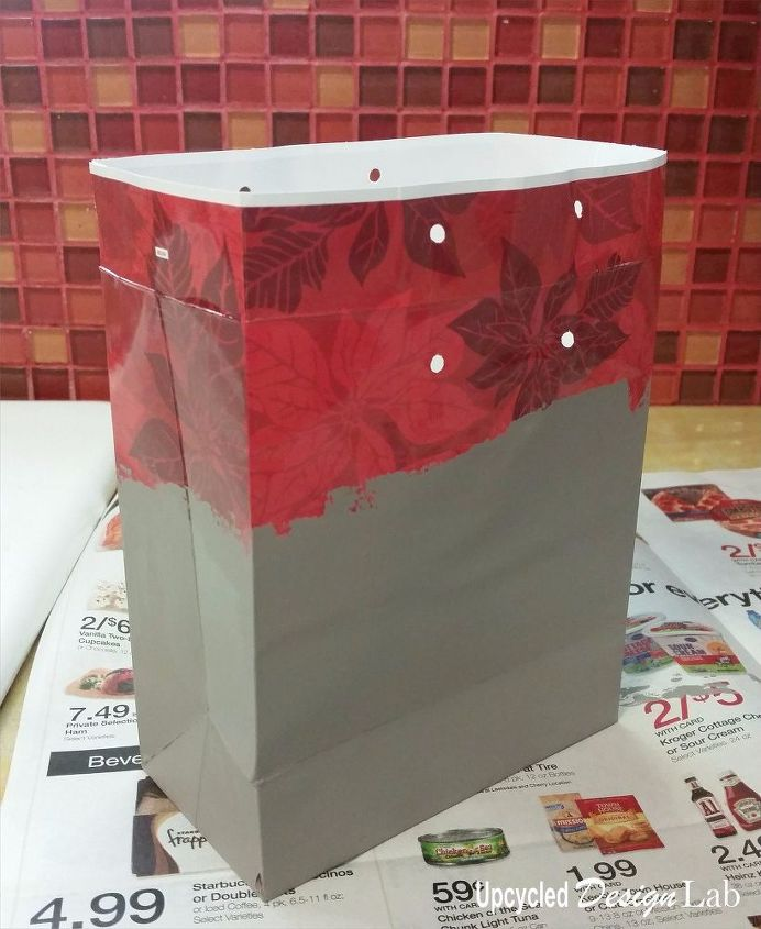 christmas gift bag makeover with house paint and cereal box, crafts, how to, repurposing upcycling, seasonal holiday decor