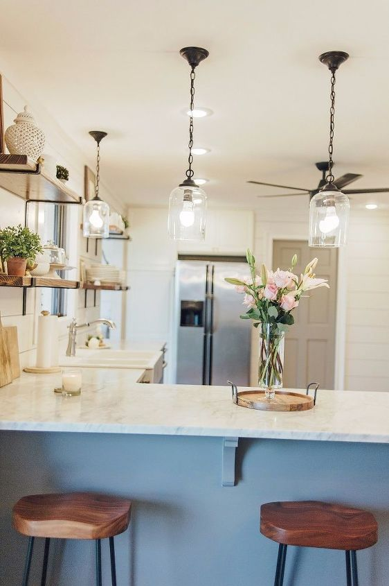 1970 s kitchen gets a modern farmhouse makeover , home improvement, kitchen cabinets, kitchen design, large home improvement projects