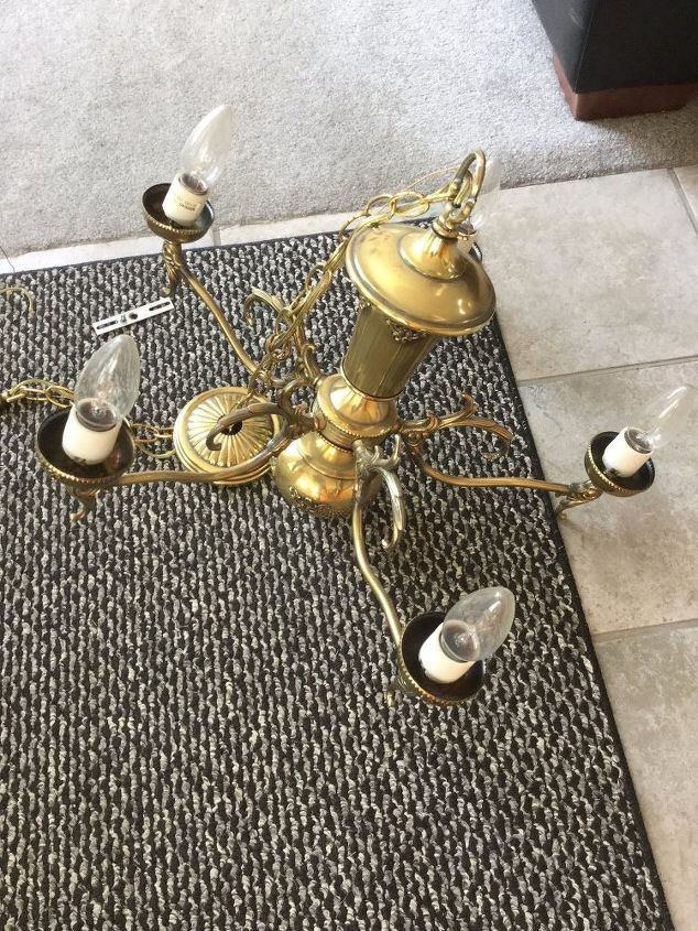 upcycle an outdated chandelier to a solar chandelier, crafts, go green, how to, lighting, outdoor furniture, outdoor living, painting, repurposing upcycling