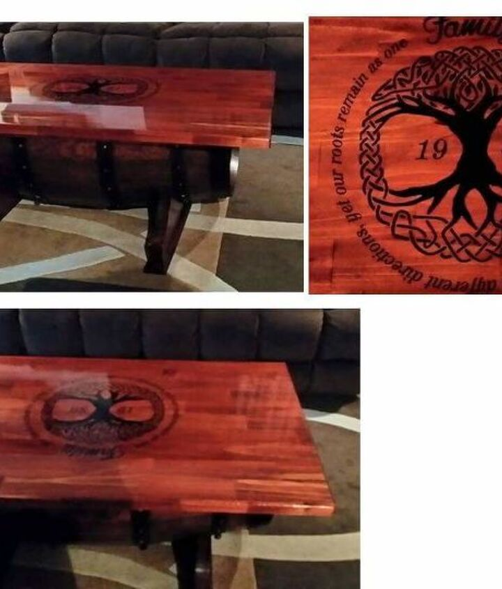 Another of my personalized wine barrel table