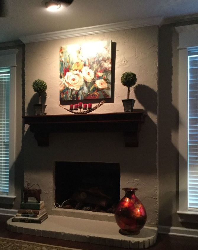 q lighting above fireplace causes excess shadows, fireplaces mantels, home improvement, lighting, The only light source is the off center recessed eyeball light
