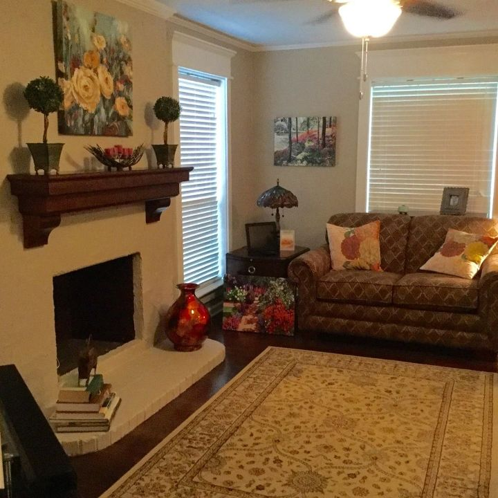 q lighting above fireplace causes excess shadows, fireplaces mantels, home improvement, lighting, The only light source is the ceiling fan s light