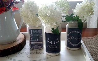 d i y mason jar chalk board look , chalk paint, crafts, decoupage, how to, mason jars, repurposing upcycling