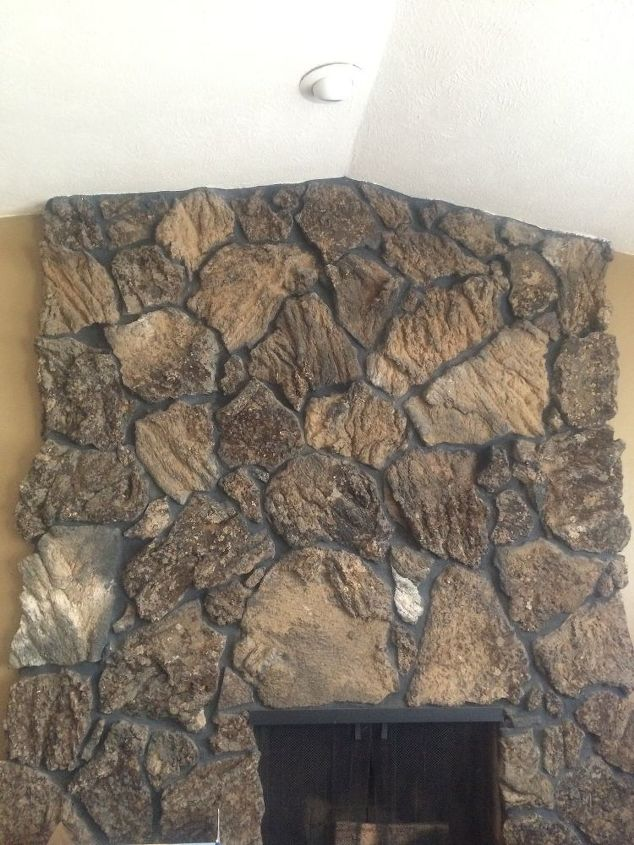 q mantel on rock fireplace, fireplace makeovers, fireplaces mantels, home improvement, mantels