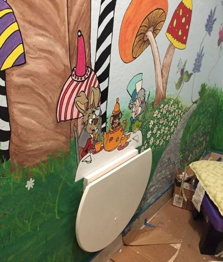 alice in wonderland under the stairs play space, entertainment rec rooms, painting, stairs