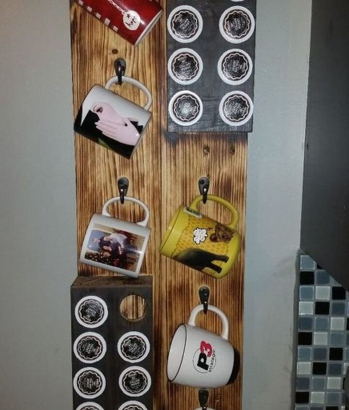 hanging cofee mug and k cup storage, crafts, how to, organizing, storage ideas, woodworking projects