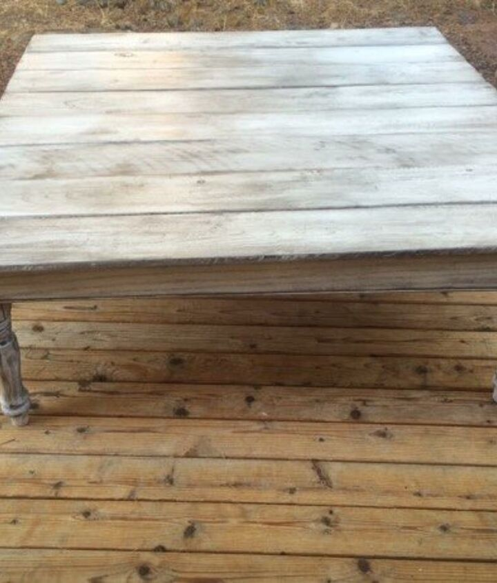 coffee table made from leftover fence boards, fences, painted furniture