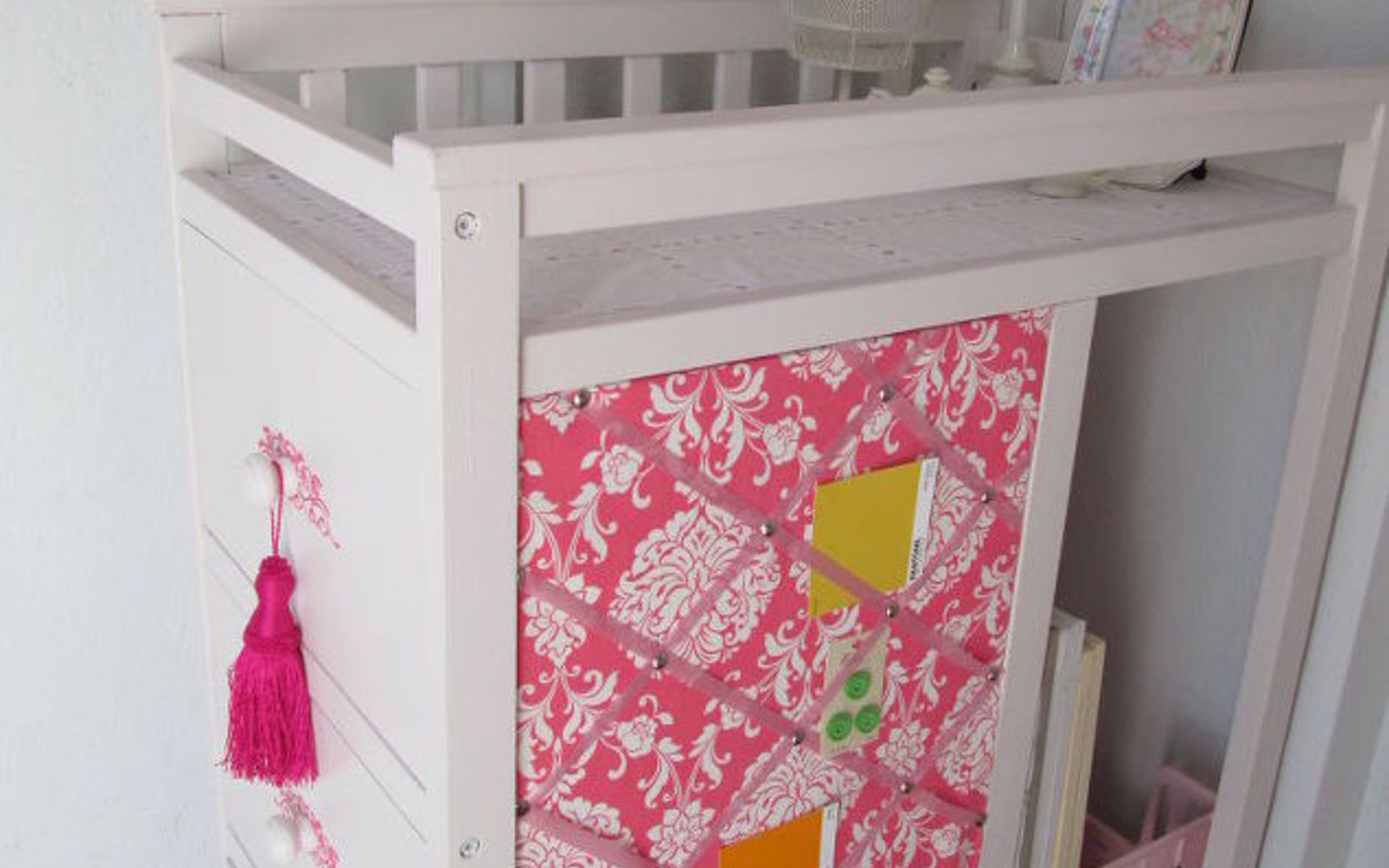 s here s why you shouldn t throw out your old changing table, painted furniture, repurposing upcycling, It can become your new favorite fabric center