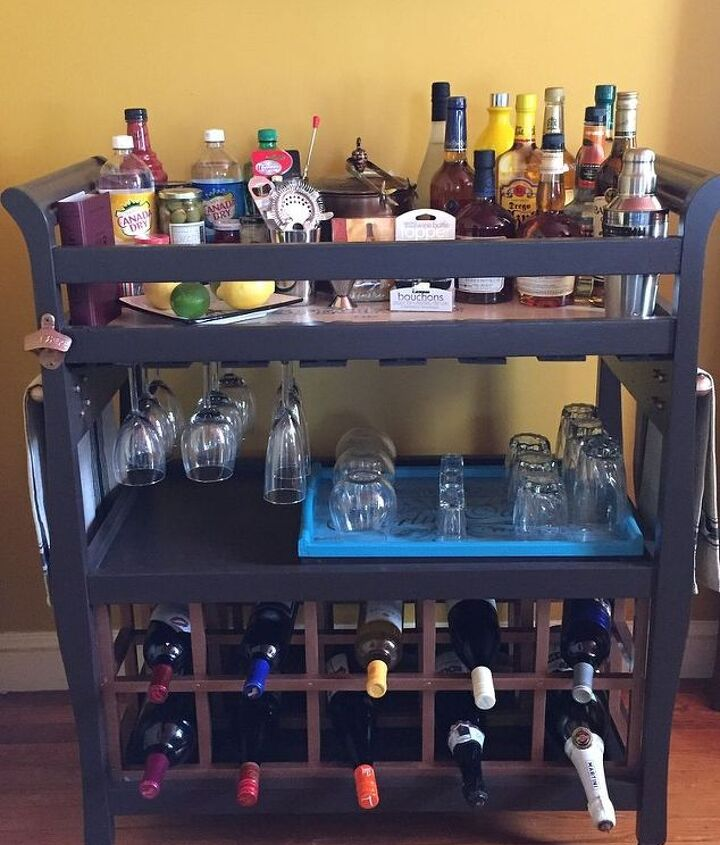s here s why you shouldn t throw out your old changing table, painted furniture, repurposing upcycling, It makes an awesome bar cart