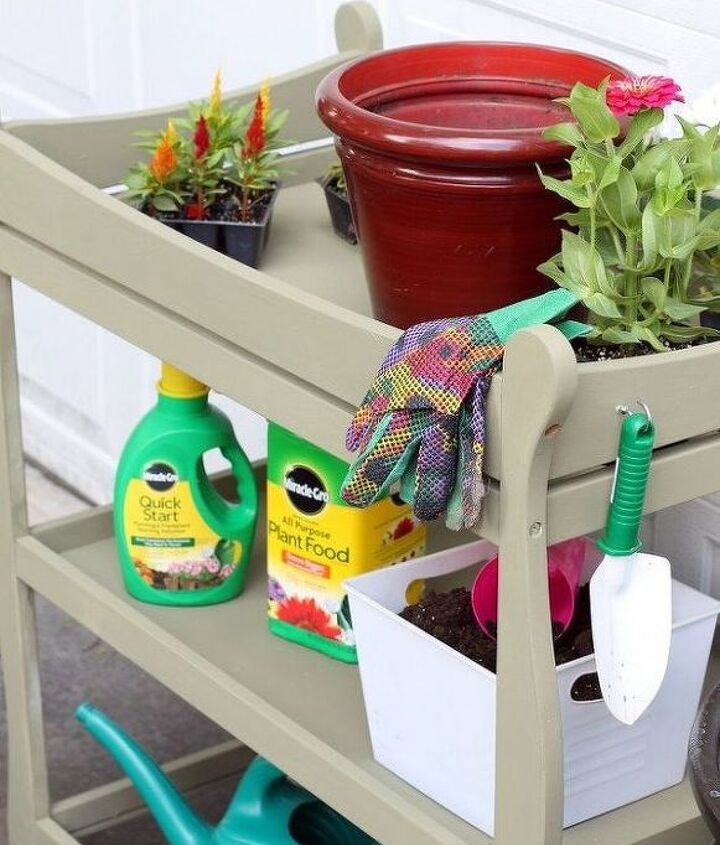 s here s why you shouldn t throw out your old changing table, painted furniture, repurposing upcycling, It s the perfect potting bench
