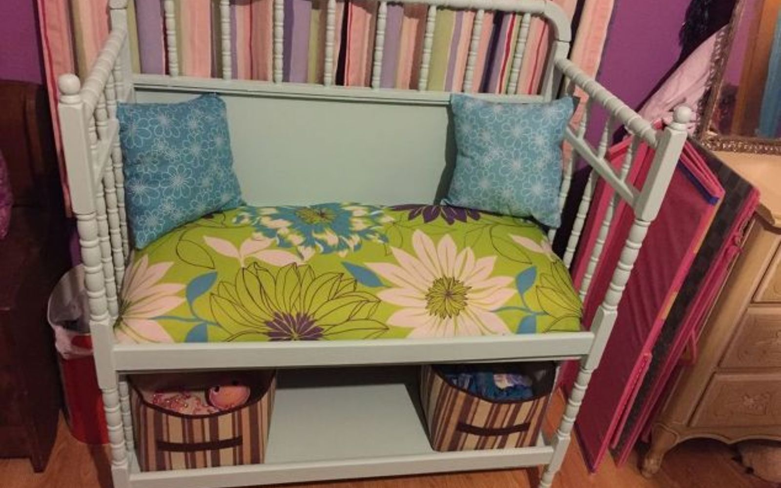 s here s why you shouldn t throw out your old changing table, painted furniture, repurposing upcycling, This one was made into a bench