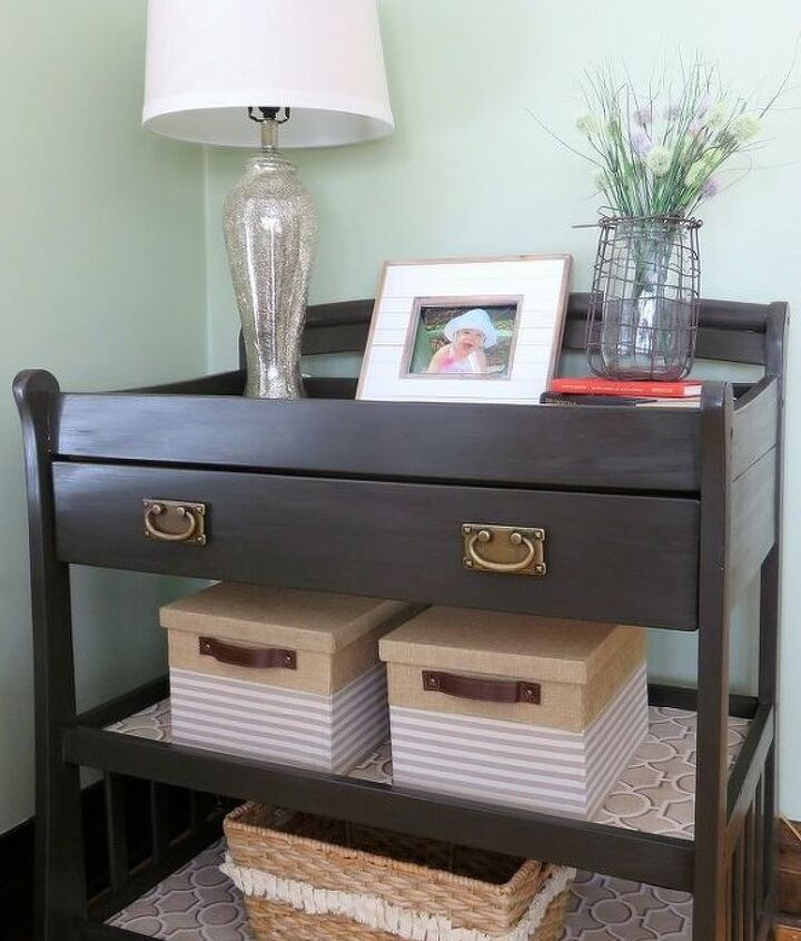 s here s why you shouldn t throw out your old changing table, painted furniture, repurposing upcycling, And this one transformed into a console table