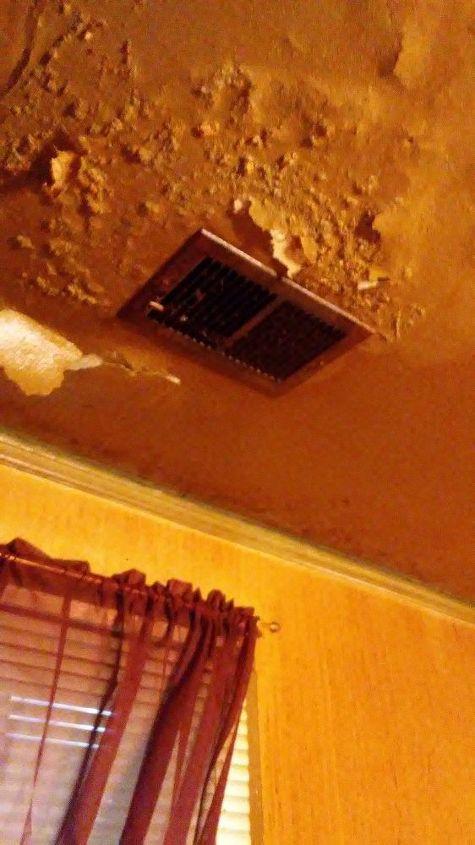 q how can i repair falling sheet rock ceilings , home maintenance repairs, minor home repair, Peeling blistering paint No roof leaks husband is roofer New shingles 2 or ago