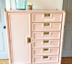 Faux Bamboo Tallboy Painted In Peach And A Pretty Surprise Too, Decoupage,  How To