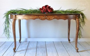 Dining Table in Antique Gold - Metallic Paint With Stained Top