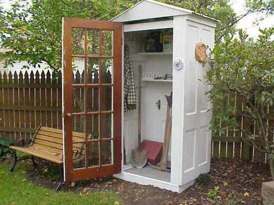 q small garden shed made with doors, doors, outdoor living, woodworking projects