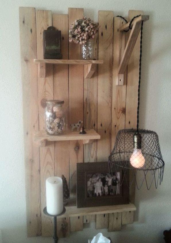 Pallet Wall Shelf W Egg Basket Light Crafts Lighting Repurposing Upcycling