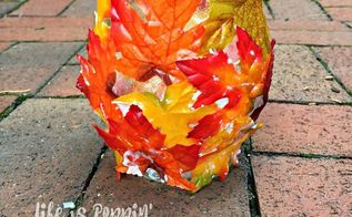 easy fall candle holder decor, crafts, decoupage, how to, repurposing upcycling, seasonal holiday decor