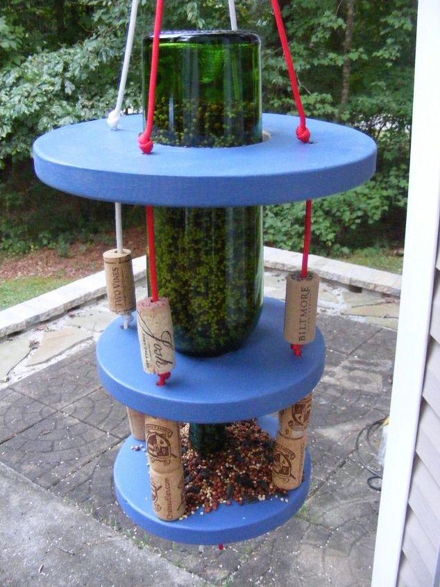 paracord wine bottle bird feeder, animals, crafts, gardening, pets animals, repurposing upcycling, tools