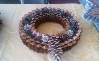 pine cone petal wreath, crafts, repurposing upcycling, wreaths