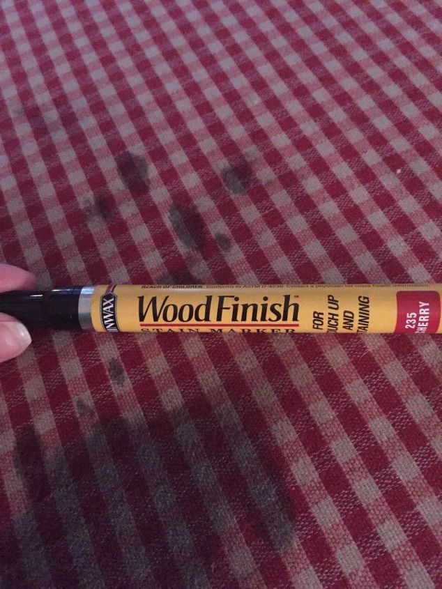 q my dog stained my sofa question about removing wood stain from sofa, cleaning tips, fabric cleaning, furniture cleaning, This is the varnish pen