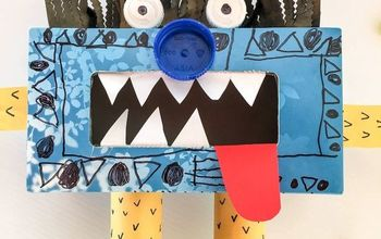 recycled tissue box monster, crafts, repurposing upcycling
