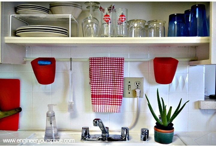 s 12 space saving solutions for your tight kitchen, kitchen design, shelving ideas, Hang a tension rod to save counter space