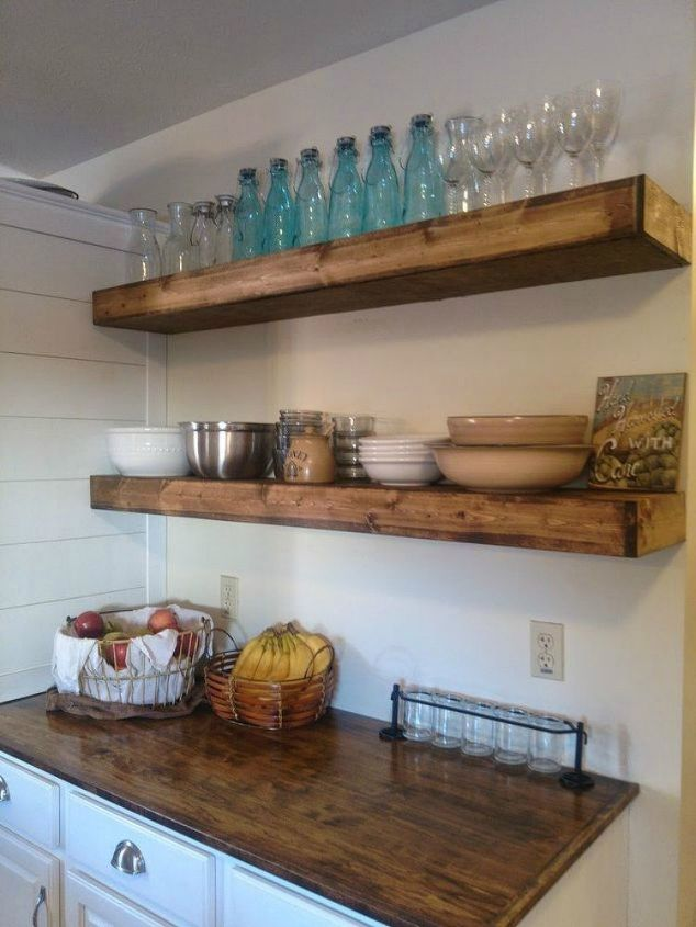 s 12 space saving solutions for your tight kitchen, kitchen design, shelving ideas, Add floating shelves for extra space