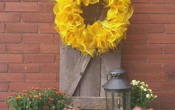 DIY Rustic Barn-Style Shutter And Wreath
