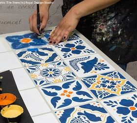 Superior How To Stencil A Mexican Talavera Tile Table, How To, Painted Furniture,  Tile