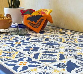 How To Stencil A Mexican Talavera Tile Table, How To, Painted Furniture, ...