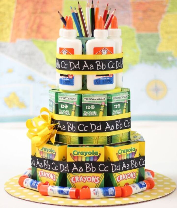 school supply cake an a teacher appreciation gift, crafts, how to