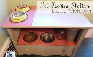 diy pet feeding station dresser makeover , how to, painted furniture, pets, pets animals, repurposing upcycling, reupholster