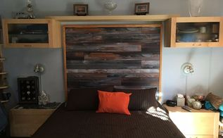 headboard made with laminate flooring, bedroom ideas, flooring