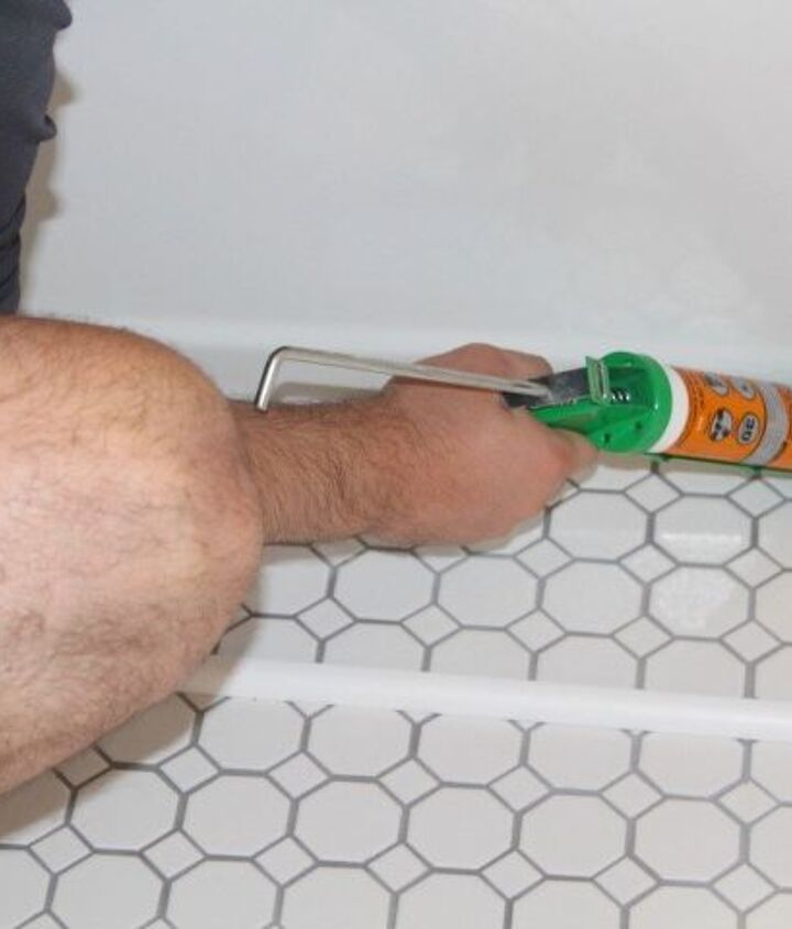 a simple hexagon tile hack, bathroom ideas, how to, tiling