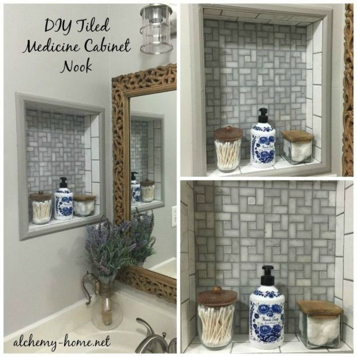 s 14 mesmerizing ways to use tile in your bathroom, bathroom ideas, Give some style to your medicine nook