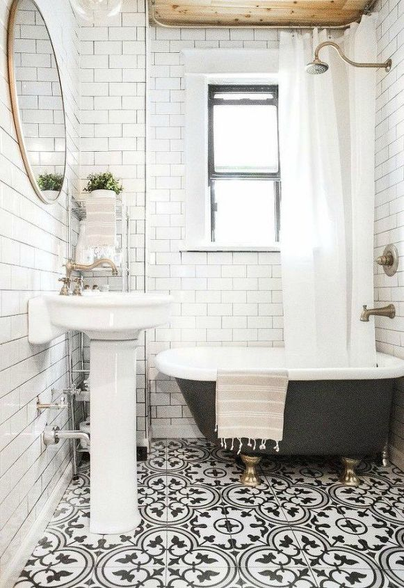 s 14 mesmerizing ways to use tile in your bathroom, bathroom ideas, Use a patterned tile for your floor