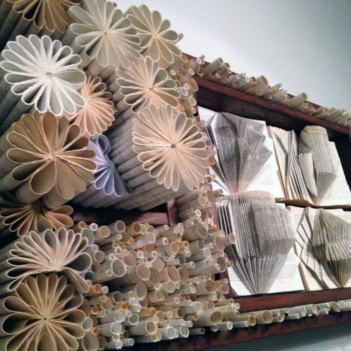 s 13 shocking things you can do with old unwanted books, repurposing upcycling, Fold the pages into incredible wall art